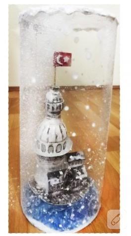 Karlı Kız Kulesi'nden lamba (pet şişe değerlendirme)