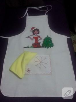 Kumaş boyama Noel mutfak önlüğü