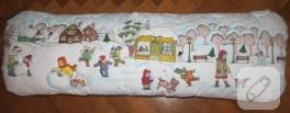 Kış temalı kumaş boyama yastık