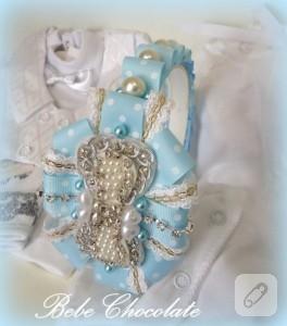 İncili fiyonklu mavi lohusa tacı