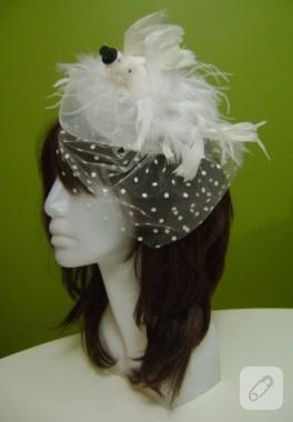 Gelin-damat güvercinli nikah şapkası