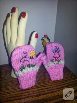 İşlemeli pembe eldivenler