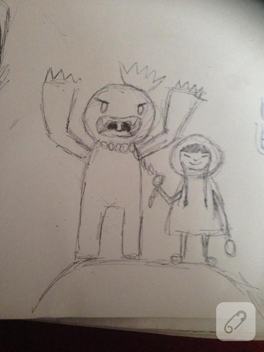 amigurumi örgü canavar ve eskimo kız yapımı