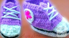 Örgü mor Converse bebek patiği