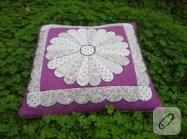 Dresden plate örneğinden patchwork yastık