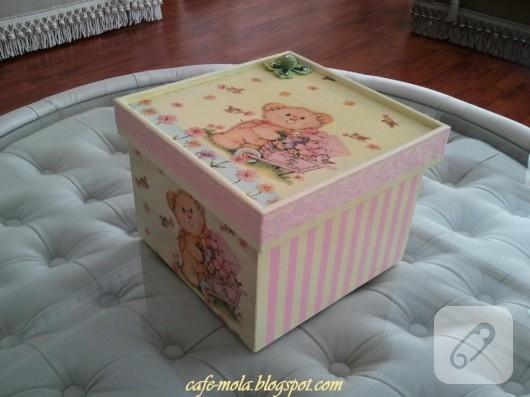 Peçete dekupajlı kutu