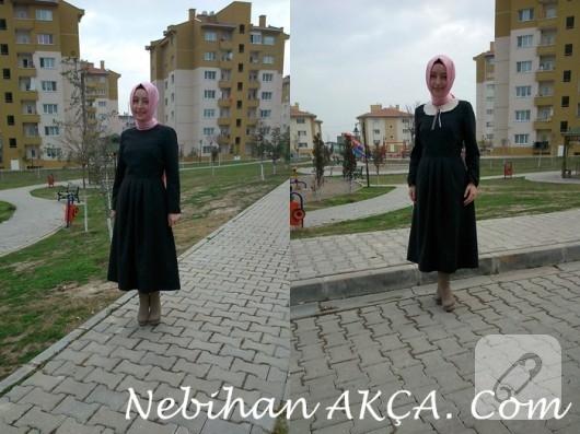 Pileli siyah elbise