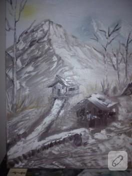 Ulu ve karlı dağlar – yağlı boya tablo