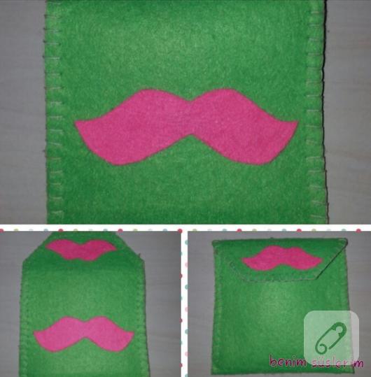 yeşil keçe bozuk para cüzdanı
