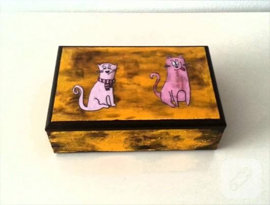 Ahşap boyama kedili kutu