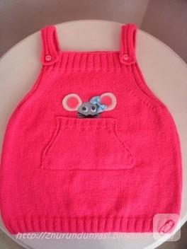 Fare aplikeli örgü bebek elbisesi