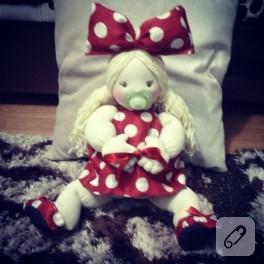 Minnie Mouse kıyafetli bez bebek