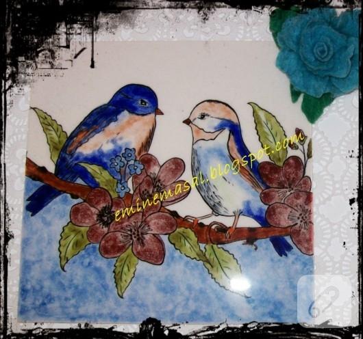 Çini boyama kuşlar