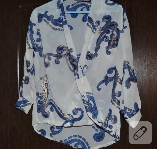 Desenli şifon bluz