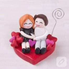 Fimo ile Sevgililer Günü için romantik çift notluk