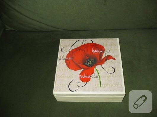 Gelincik dekupajlı ahşap kutu