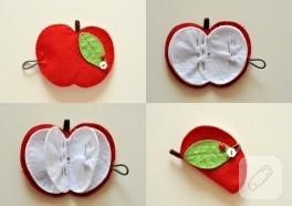 Keçeden elma şeklinde iğnelik