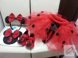 Kırmızı Mickey Mouse tütü etek takımı