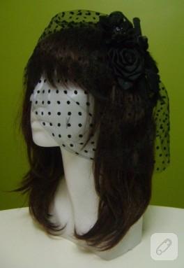 Puantiyeli tüllü siyah nikah şapkası