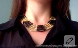 Sarı siyah boncuk kolye