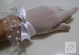 Beyaz tül eldiven / nikah eldiveni