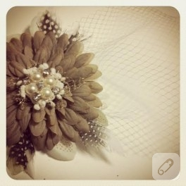 Vizon Rengi vualet / nikah şapkası