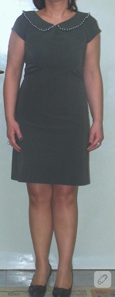 Yakası inci işlemeli elbise modeli