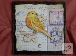 Özleyen kuş – eskitmeli duvar süsü