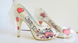 Önü açık gelin ayakkabısı – ayakkabı boyama
