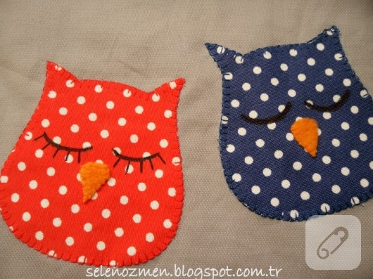 Baykuş aplikeli kumaşlar