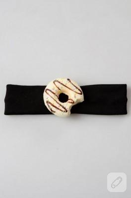 Kremalı donut süslemeli bebek saç bandı