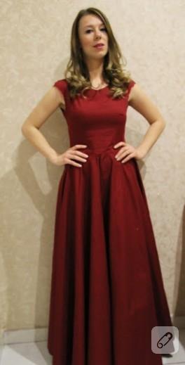 Bordo abiye elbise modeli