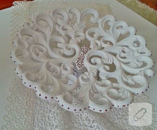 dekoratif boyama beyaz kase