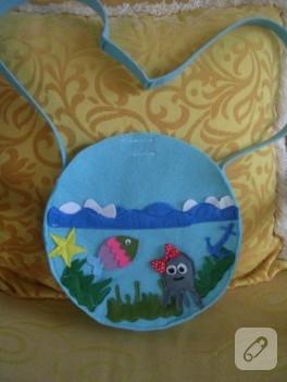 Deniz temalı keçe çanta