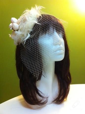el yapımı tüllü ekru nikah şapkası