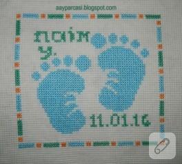 Etamin işleme bebek ayakları