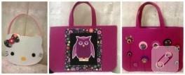 Hello Kitty, baykuş ve çiçek süslemeli keçe çantalar
