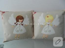 Melekli keçe dekoratif yastık