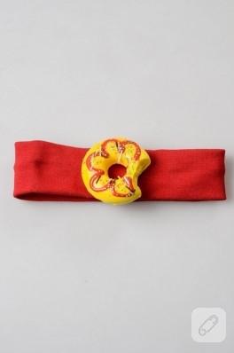 Sarı donut'lı bebek saç bandı
