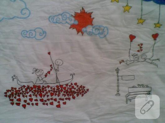 Kumaş boyama yastık kılıfı