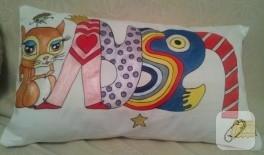 Kumaş boyama saten yastık