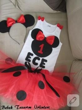 Kırmızı Mickey Mouse tütü takım