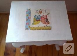 Mobilya boyama; baykuş dekupajlı sehpa