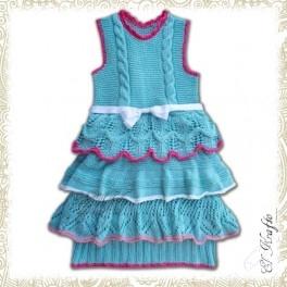 Küçük prensesler için mavi örgü elbise