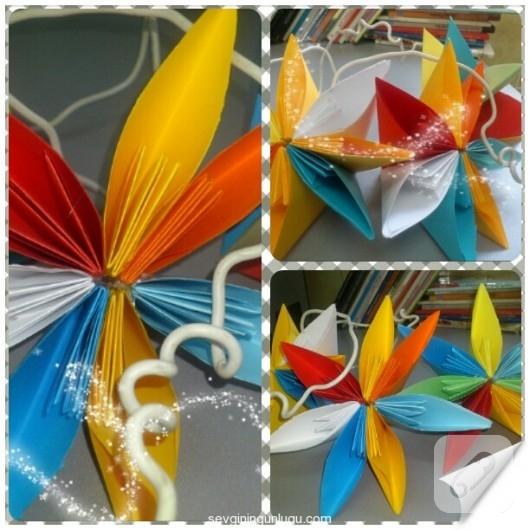 Origami kağıt çiçekler