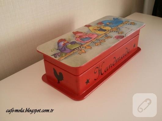 dekupajlı kırmızı ahşap kutu