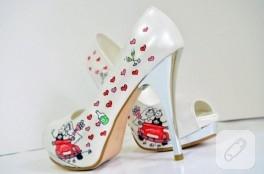Sade gelin ayakkabısı – ayakkabı boyama