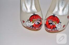 Faytonlu gelin ayakkabısı – ayakkabı boyama