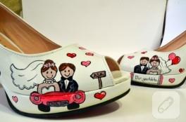 Kısa topuk el boyaması gelin ayakkabısı