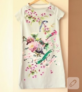 Gabardin kumaştan yazlık elbise